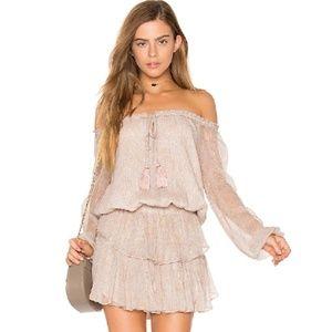 LoveShackFancy Popover Dress Metallic Sand Small